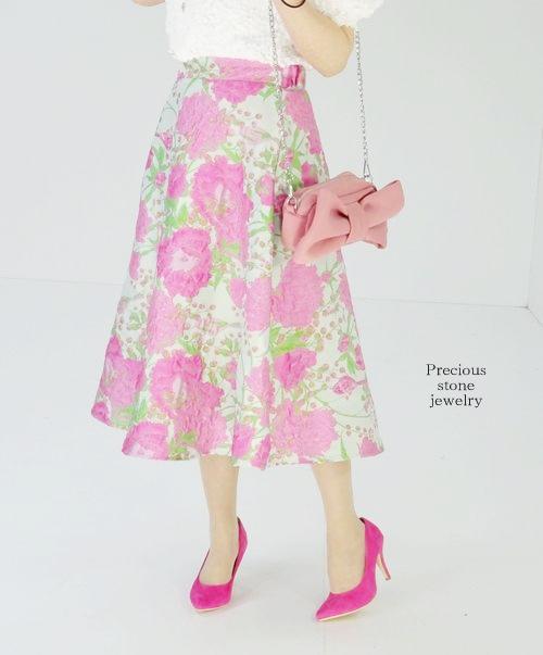 ●残り1点〜最終再販×期間限定特別商品〜バードフラワージャガードスカート