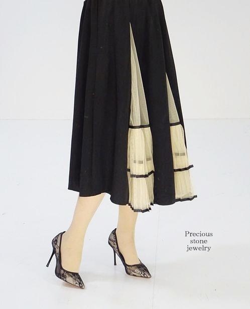 ●100枚完売〜リッシュプリーツシフォンクロススカート