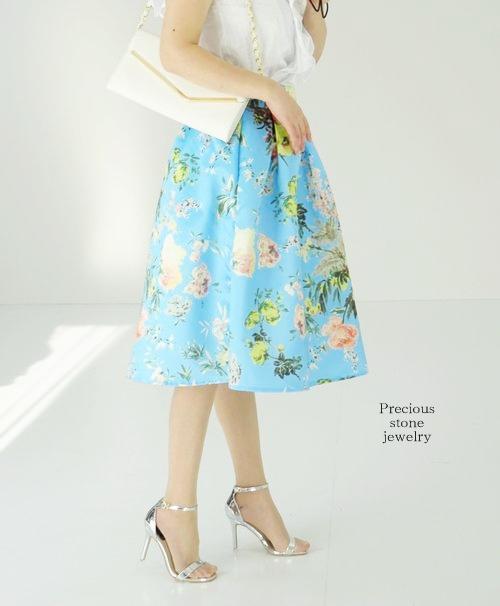 ●残り1点となりました〜スカイブルーフラワーデザインスカート
