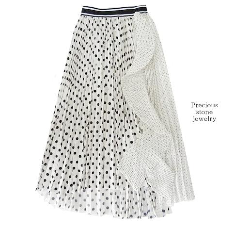 ●残り1点×イレギュラーヘムラインドットスカート