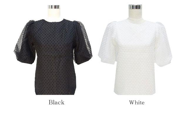 ドットチュールパフ袖トップス(2カラー)
