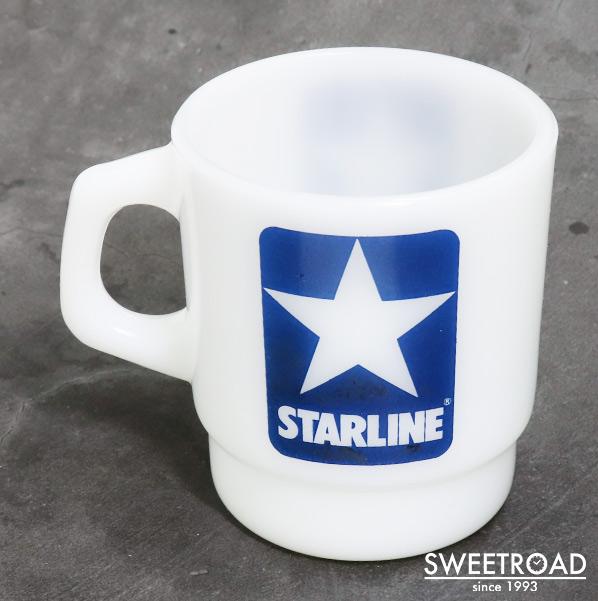 【FIRE-KING/ファイヤーキング】STARLINE/スターライン/スタッキングマグ/アドマグ/USA・アメリカ製/ヴィンテージ雑貨/1977年-86年製/fk-30