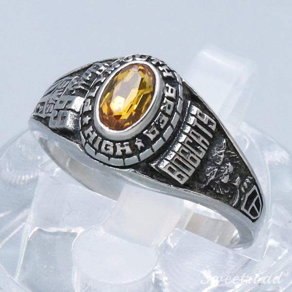 【College Ring/カレッジリング】【PLYMOUTH AREA HIGH School/プリマスエリア・ハイスクール】【BOBCATS/合金製/サイズ:13.5号】1969年製 w-20263