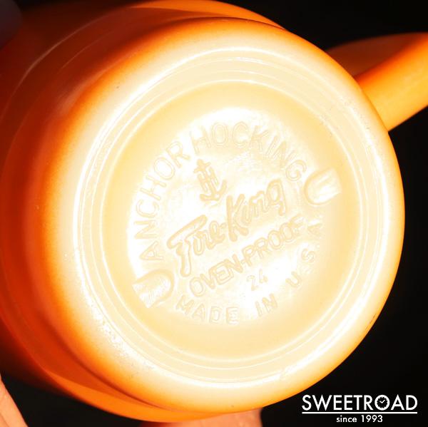 【FIRE-KING/ファイヤーキング】スタッキングマグ/カラーマグ/オレンジ・ブラウン/ホワイトリム/USA・アメリカ製/アンカーホッキング/ヴィンテージ雑貨/1960年代-70年代/fk-24