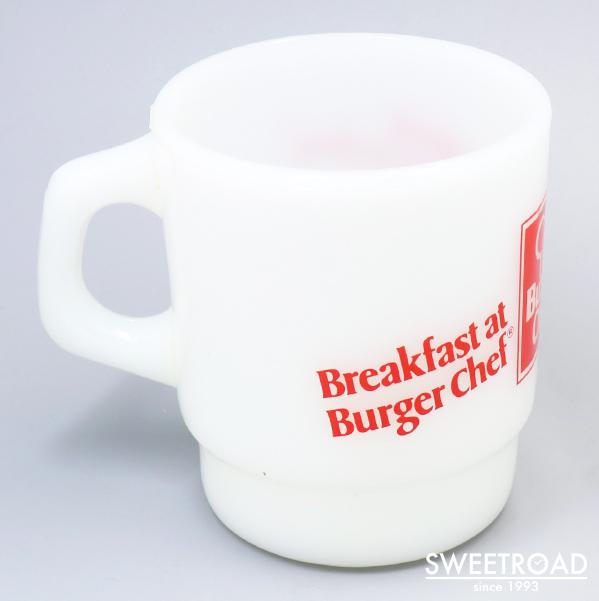 【FIRE-KING/ファイヤーキング】Burger Chef/バーガーシェフ/スタッキングマグ/アドマグ/USA・アメリカ製/ヴィンテージ雑貨/1977年-86年製/fk-19
