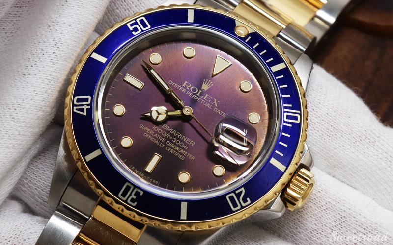 【ROLEX/ロレックス】Submariner Date/サブマリーナデイト/青サブ/Ref.16803/パープルダイヤル/YGコンビ/ギャランティ付き/Cal.3035/1985年製/w-21335