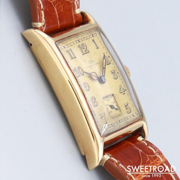 【IWC/オールドインター】14KYG/14金無垢/レクタンギュラーケース/オリジナルアラビアダイヤル/キャッツアイ/IWC初の腕時計用キャリバー/Cal.76/手巻き/1929年製/w-23489