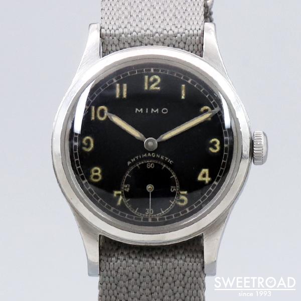 【MIMO/ミモ】DH・ドイツ陸軍/オリジナルブラックダイヤル/アラビアインデックス/スクリューバック/手巻き/1940年代/w-24055