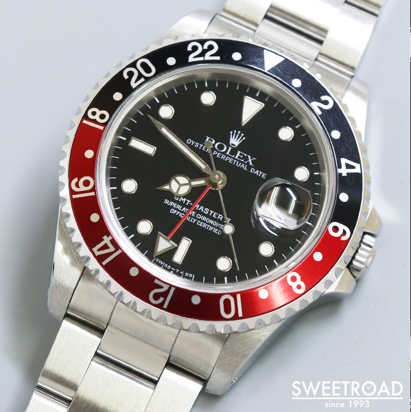 【ROLEX/ロレックス】GMT-MASTER II/GMTマスター2/Ref.16710/X番/赤黒コークベゼル/純正ハードブレス/純正BOX・ギャランティ付き/1991年製/w-23549