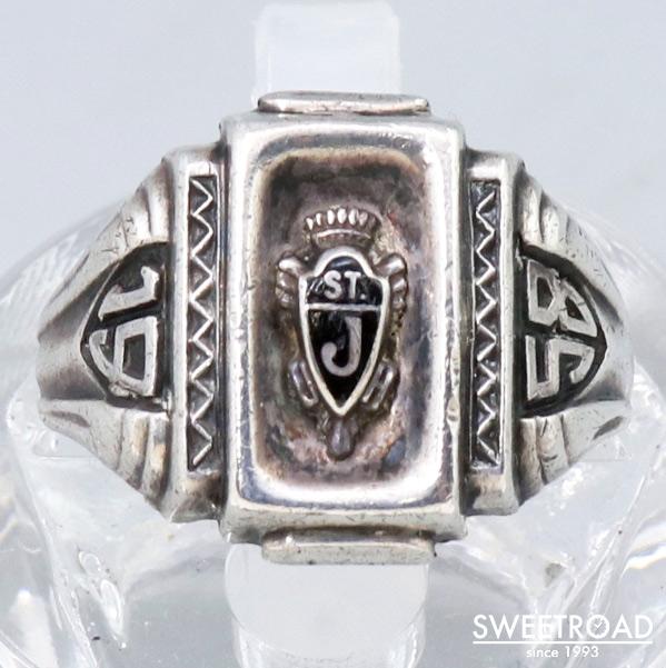 【COLLEGE RING/カレッジリング】13号/銀無垢/スターリングシルバー/スクエア型/1958年製/w-23408