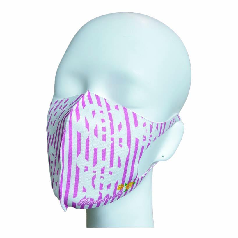 洗えるプリントマスク(ローズストライプ)ハンカチ連動