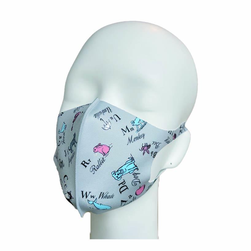 洗えるプリントマスク(アニマルアルファベット)ハンカチ連動