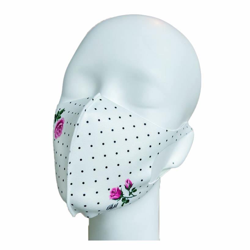 洗えるプリントマスク(バラワンピース)ハンカチ連動