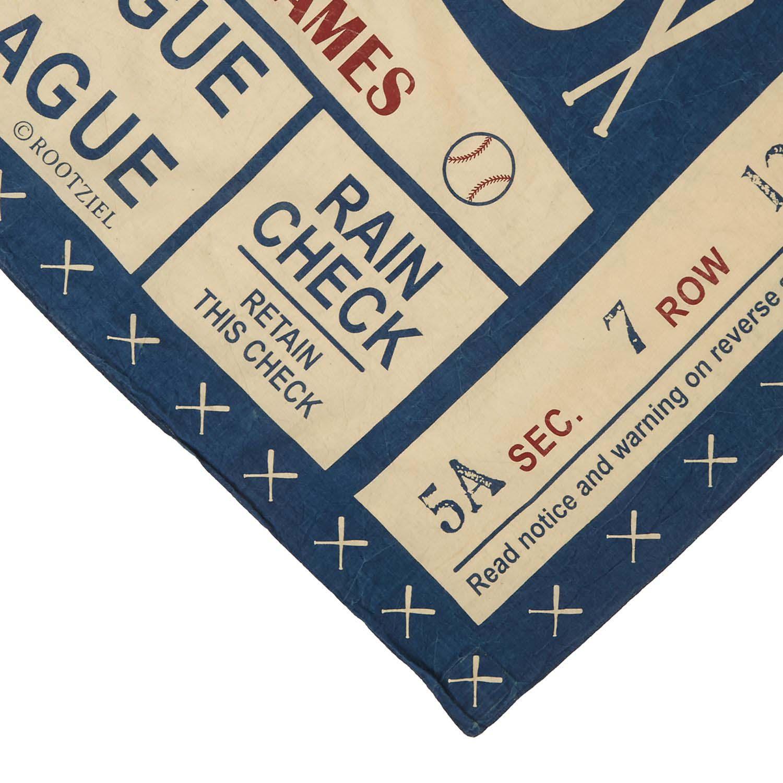 ベースボールチケット柄藍染ストール