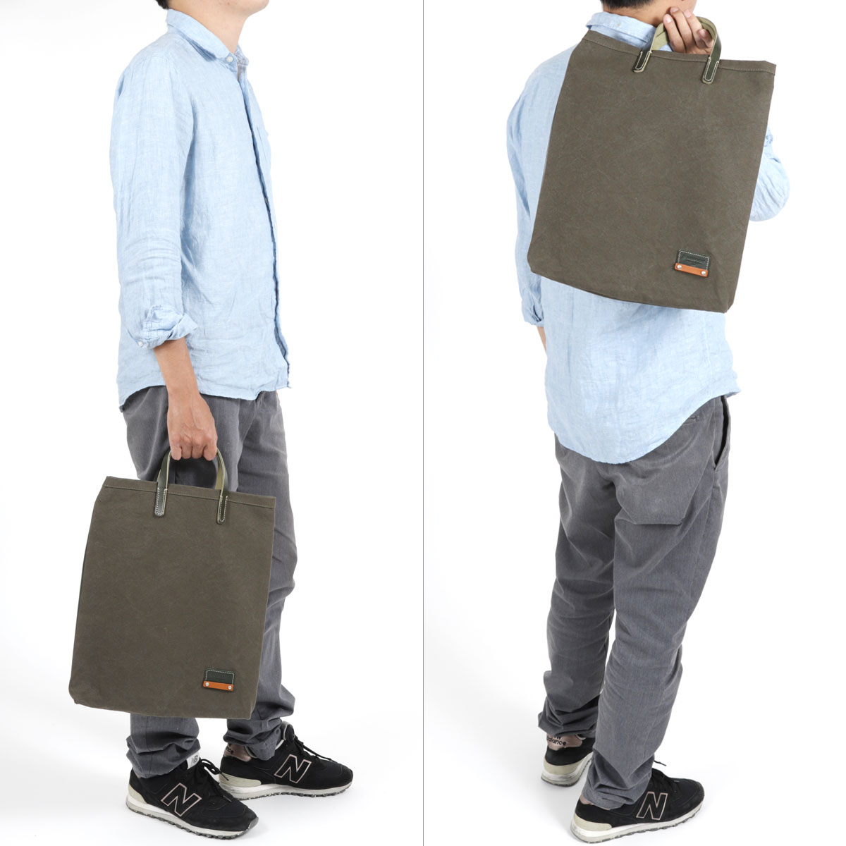 トートバッグ ハンドバッグ メンズ B4サイズ対応 カラーバイオ国産10号帆布 BAGGY PORT バギーポート 薄マチ 姫路レザー 日本製 男性用 紳士用 男女兼用 ユニセックス