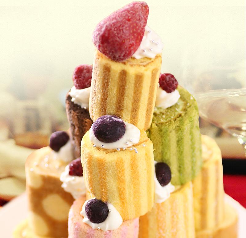 【送料無料】ロールケーキ選べる5本セット!ロールケーキ タワーやケーキバイキング、パーティにも大活躍!ロールケーキ タワー 送料無料 冷凍
