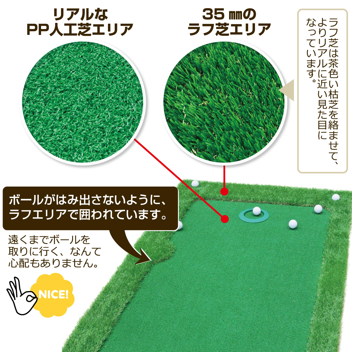 GolfStyle パターマット ゴルフ パッティング 練習 人工芝 グリーン 300×75cm Gシリーズ