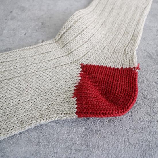 サルビア|ざっくり編みくつした コットンシルク ショート リンゴ(レッド)
