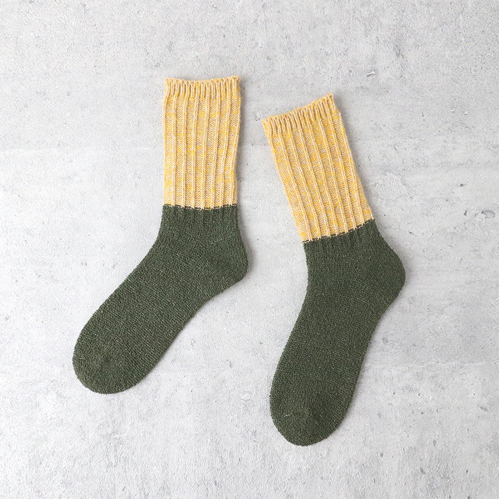 サルビア|ざっくり編みくつした ツイストウール ショート ひだまり