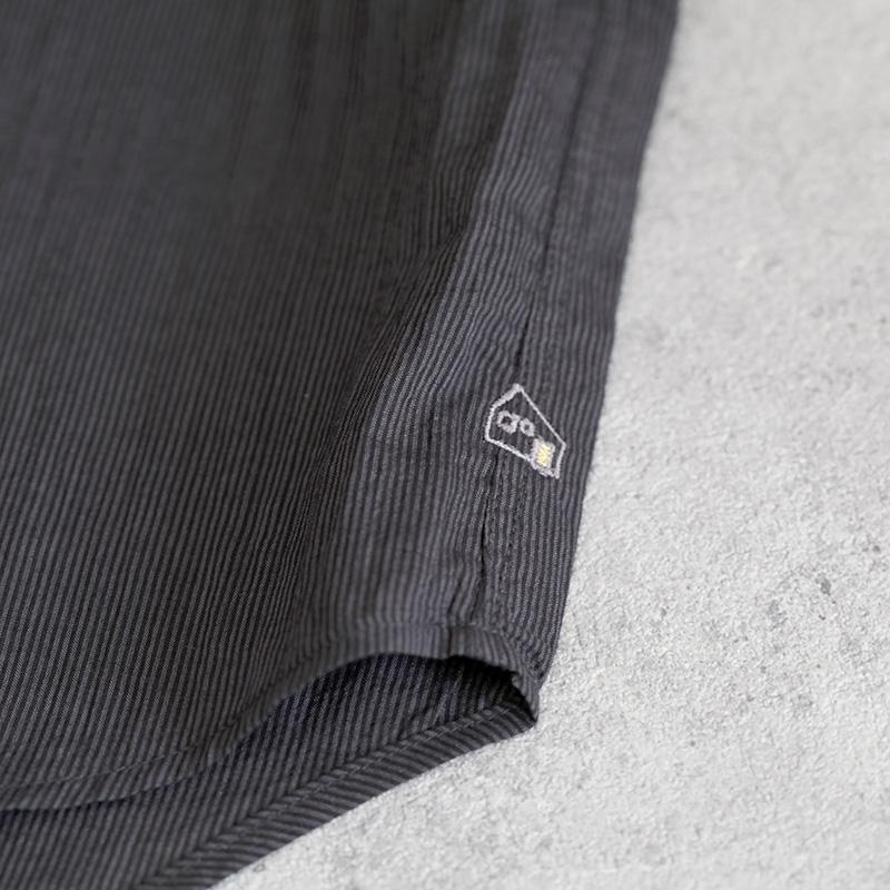 HUIS|なめらかコットンフレンチワイドブラウス stripe black