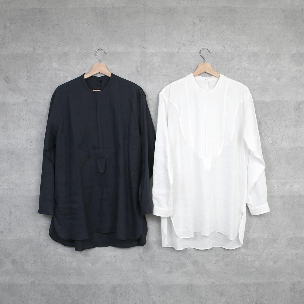 1dozen リネンドレスシャツ white