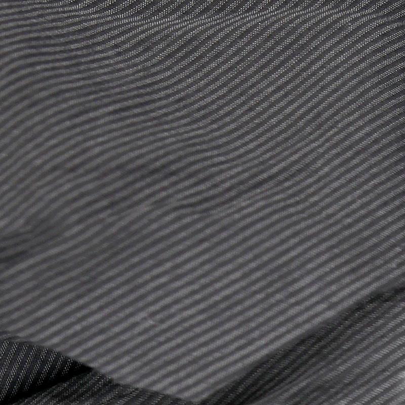 HUIS|なめらかコットンフレンチスリーブコクーンブラウス stripe black