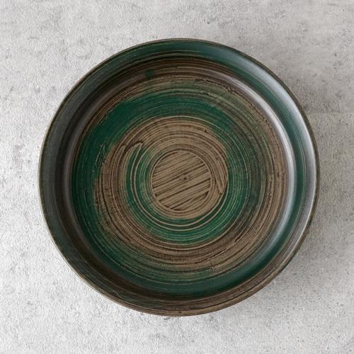 蝶野秀紀 栃灰緑深皿φ7緑