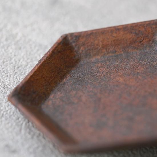 蝶野秀紀|和紙貼六角豆皿S 茶