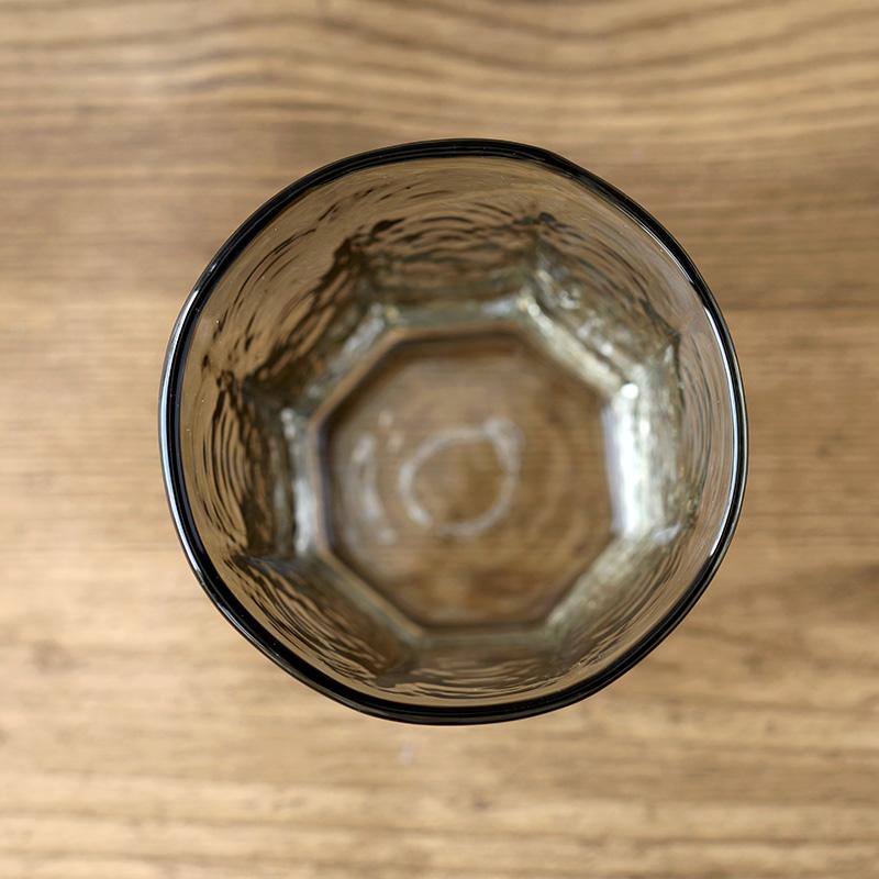 安土草多 八角グラス 墨透被せ 小