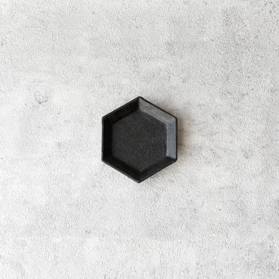 蝶野秀紀|和紙貼六角豆皿S 黒