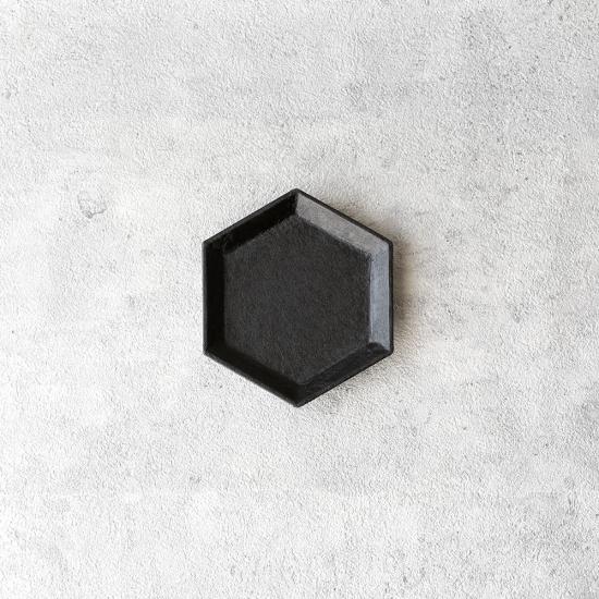 蝶野秀紀|和紙貼六角豆皿M 黒