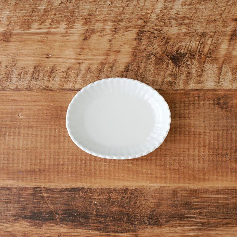 村上雄一 白磁輪花楕円小皿