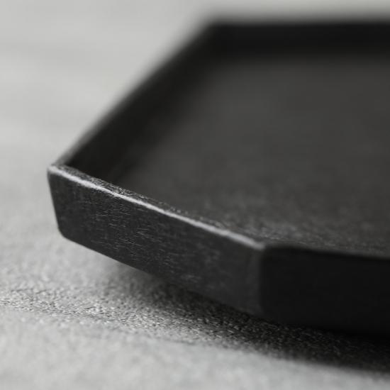 蝶野秀紀|和紙貼八角盆 正方形 黒