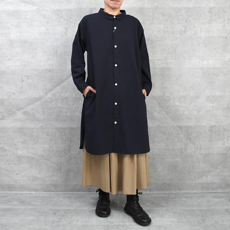 HUIS|やわらかコットン長袖ロングシャツ DARK NAVY【ユニセックス】