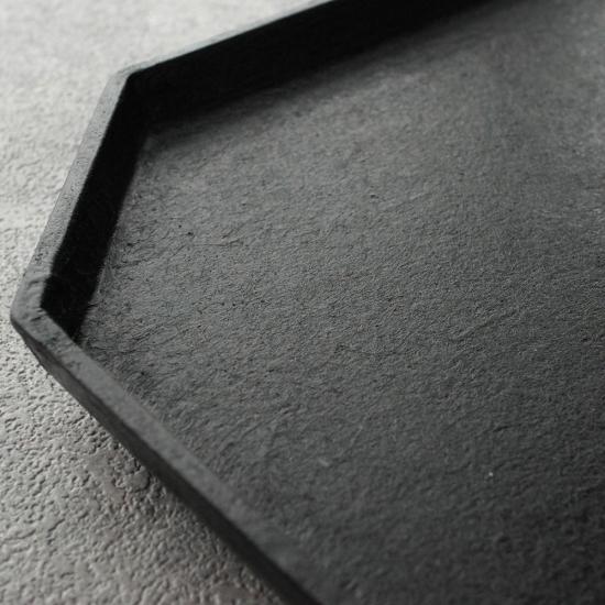蝶野秀紀|和紙貼八角長手盆 M 黒