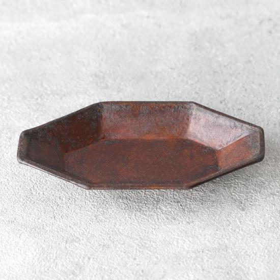 蝶野秀紀|和紙貼八角皿 S 茶