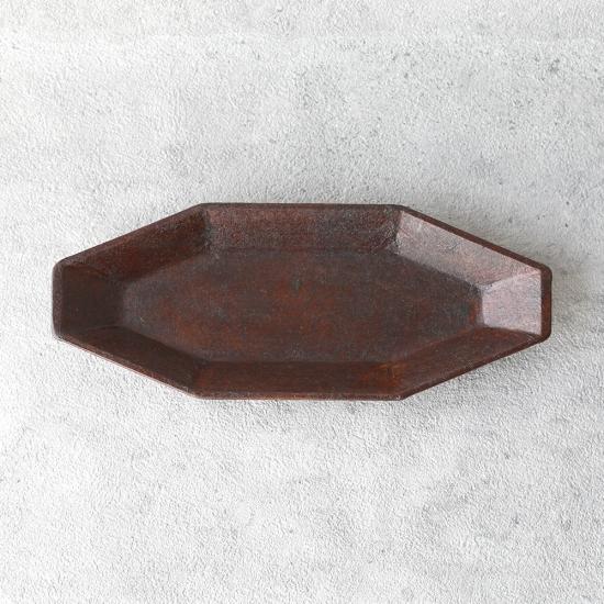蝶野秀紀|和紙貼八角皿 M 茶