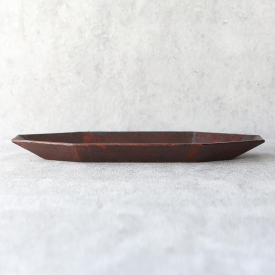 蝶野秀紀|和紙貼八角皿 L 茶