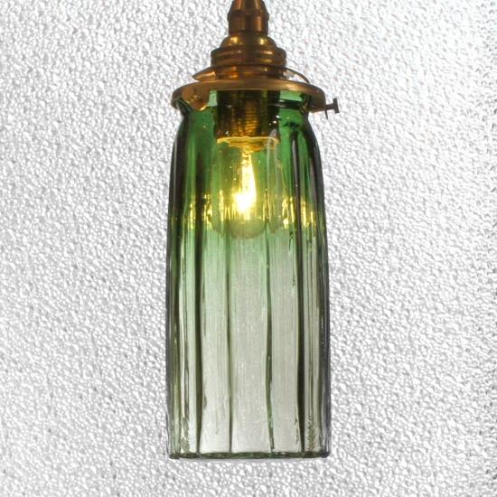 安土草多 ペンダントライト [E17] 鳴門細筒瓶 ロング 緑透き被せ