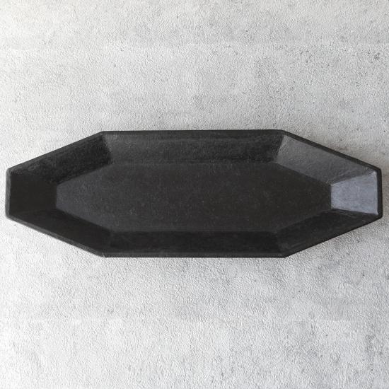 蝶野秀紀|和紙貼八角皿 L 黒