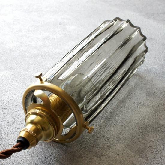 安土草多|ペンダントライト [E17] 鳴門細筒瓶 ロング 墨透き被せ