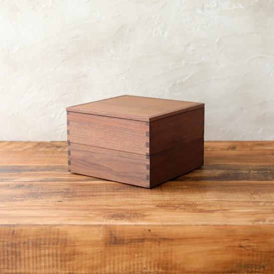 松屋漆器店|白木塗ウォールナット6寸二段重 内黒  2種仕切り付