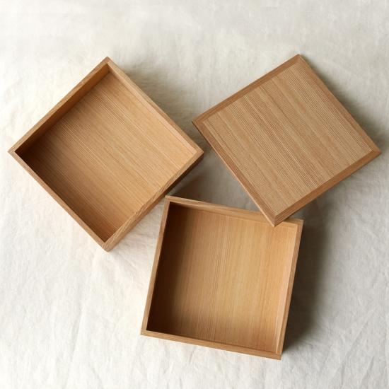 松屋漆器店|白木塗タモナチュラル6寸二段重 2種仕切り付 内白木