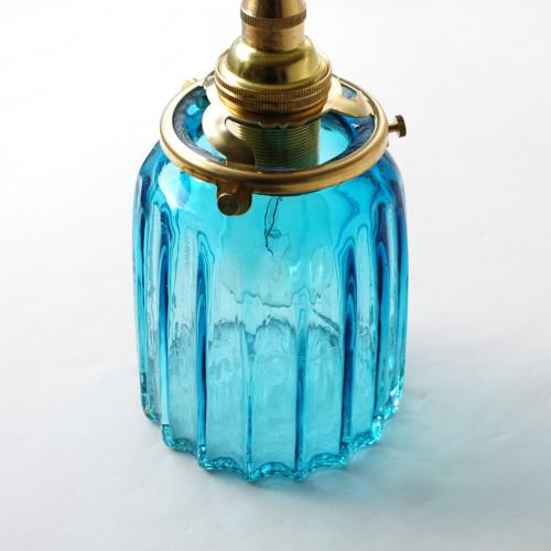 安土草多 ペンダントライト [E17] 鳴門筒瓶 青透き被せ