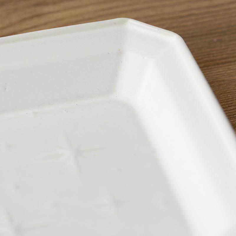 吉田健宗 和柄 リム長角皿 白釉