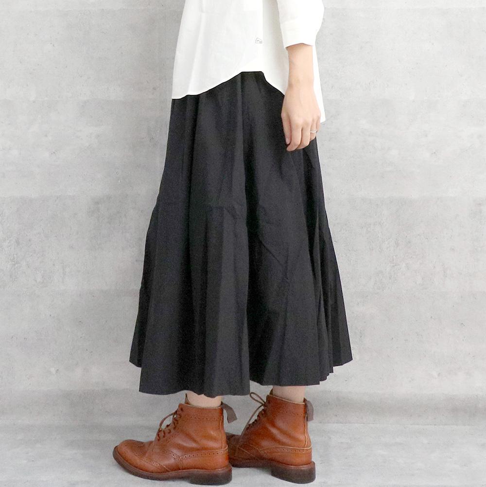 HUIS 綿ウールタイプライタークロスロングスカート BLACK