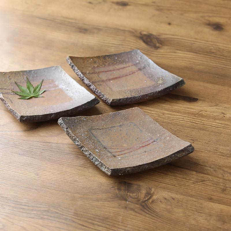 平岡仁 焼〆菱形豆皿