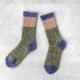 サルビア ざっくり編みくつした 杢ウール ショート 星空 deep blue