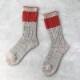 サルビア|ざっくり編みくつした 杢ウール ショート 野いちご light grey