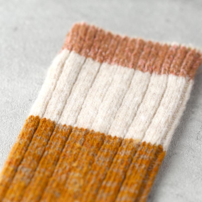 サルビア ざっくり編みくつした 杢ウール ショート 麦 tender pink